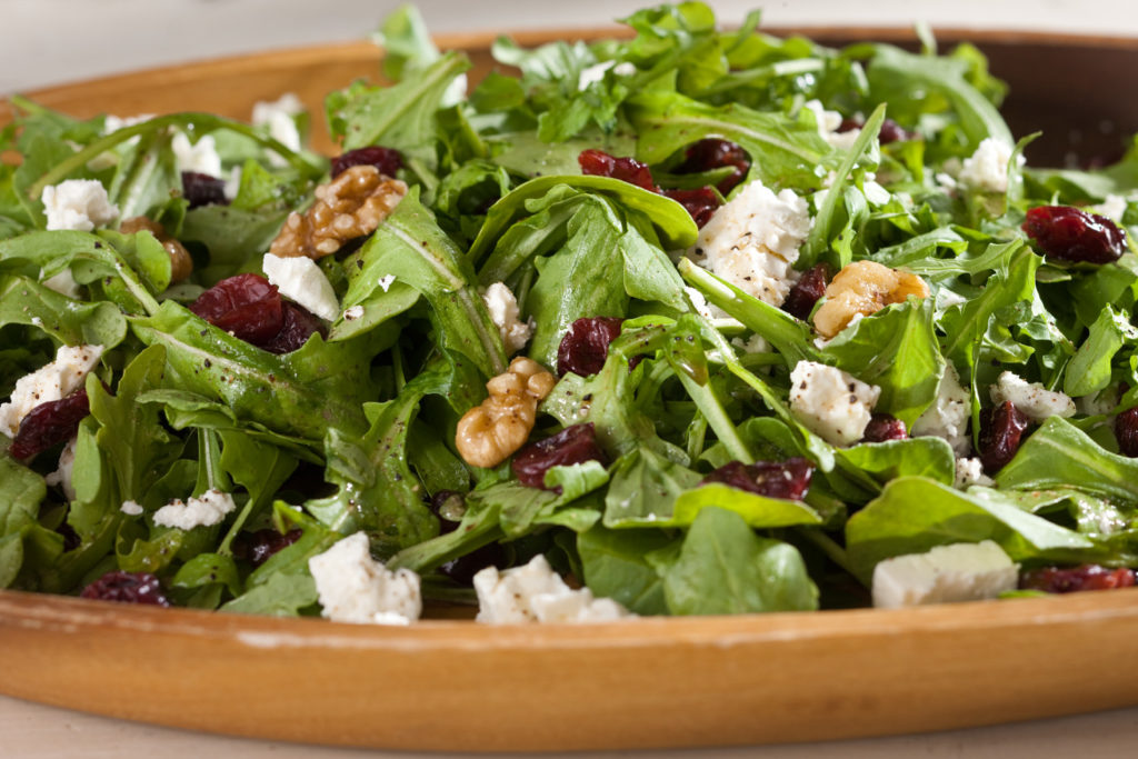Arugula Salad with Walnuts, Dried Cherries and Feta