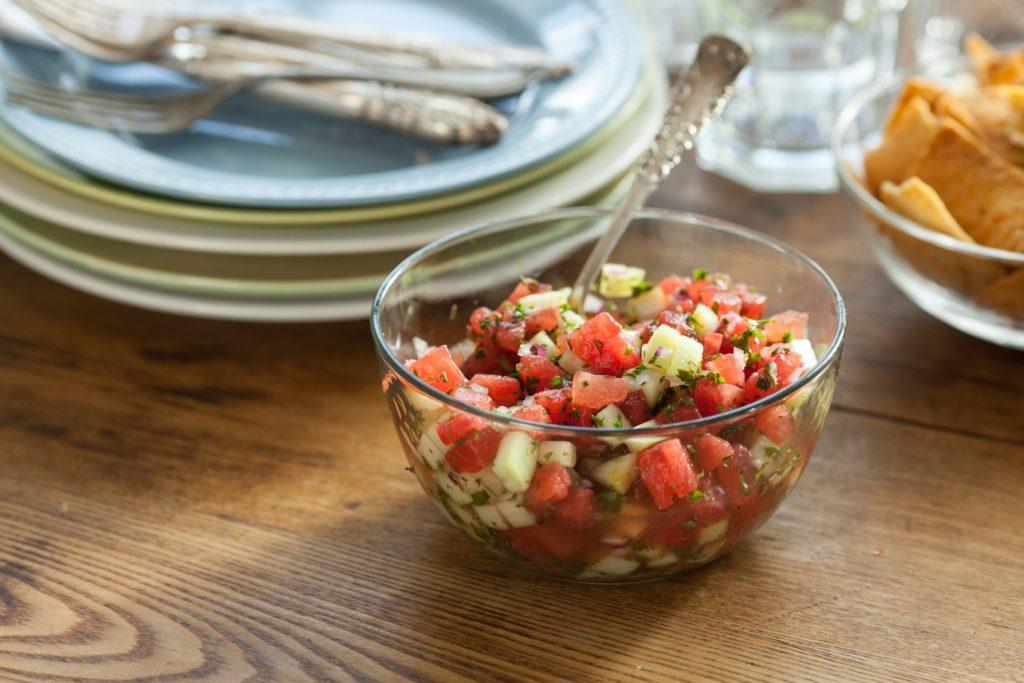 Watermelon-Cucumber Salsa with Mint